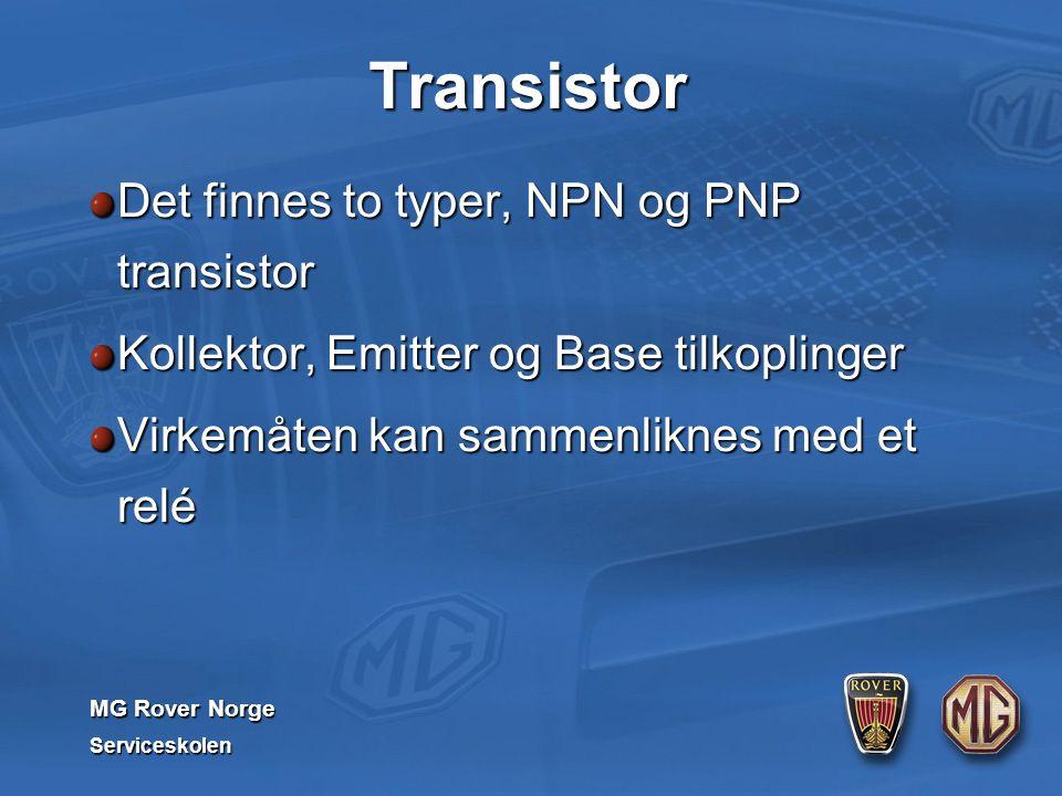 MG Rover Norge Serviceskolen Transistor Det finnes to typer, NPN og PNP transistor Kollektor, Emitter og Base tilkoplinger Virkemåten kan sammenliknes med et relé