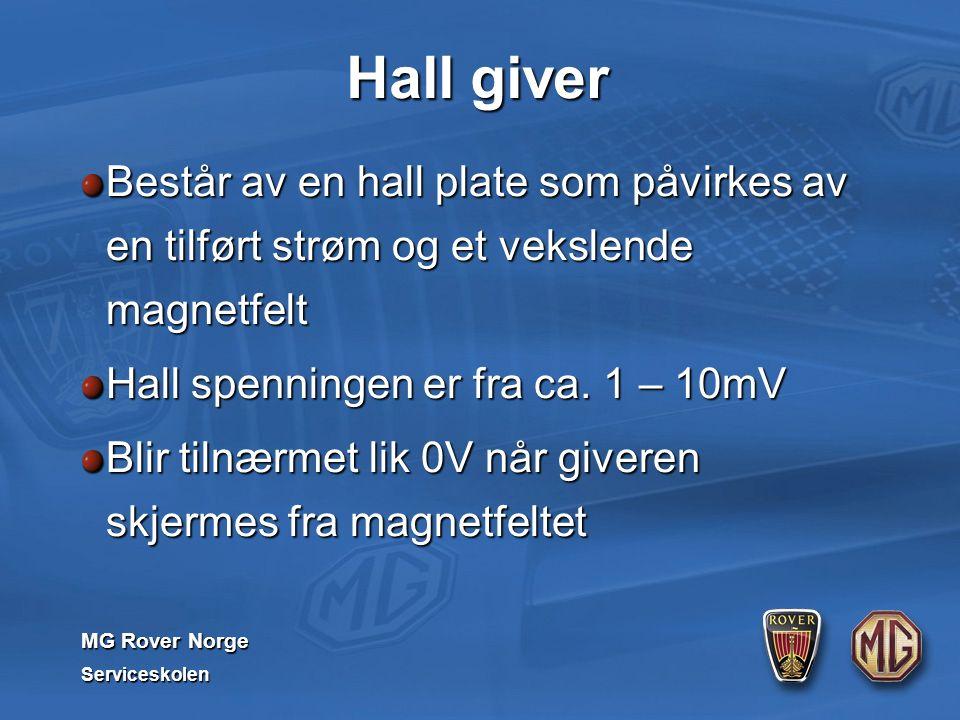 MG Rover Norge Serviceskolen Hall giver Består av en hall plate som påvirkes av en tilført strøm og et vekslende magnetfelt Hall spenningen er fra ca.