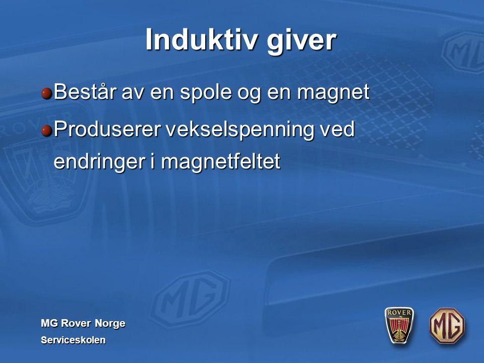 MG Rover Norge Serviceskolen Induktiv giver Består av en spole og en magnet Produserer vekselspenning ved endringer i magnetfeltet