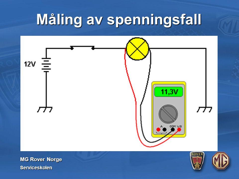 MG Rover Norge Serviceskolen Måling av spenningsfall