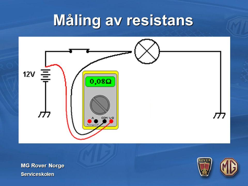 MG Rover Norge Serviceskolen Måling av resistans