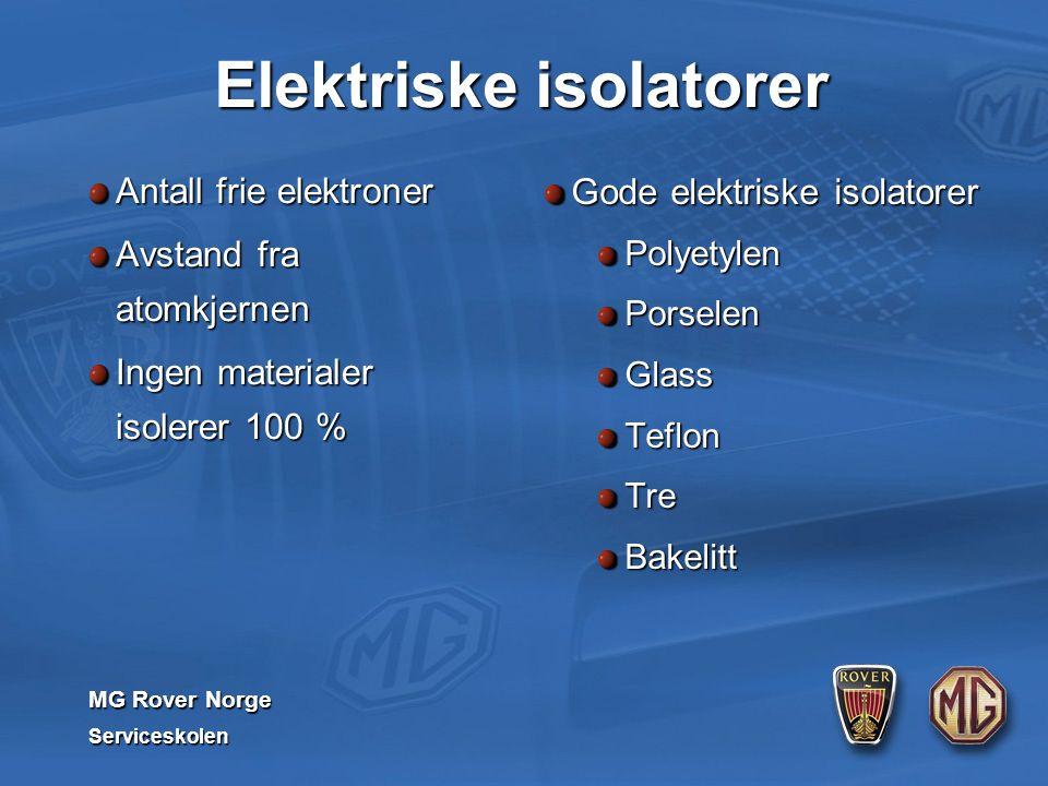 MG Rover Norge Serviceskolen Elektriske isolatorer Antall frie elektroner Avstand fra atomkjernen Ingen materialer isolerer 100 % Gode elektriske isolatorer PolyetylenPorselenGlassTeflonTreBakelitt
