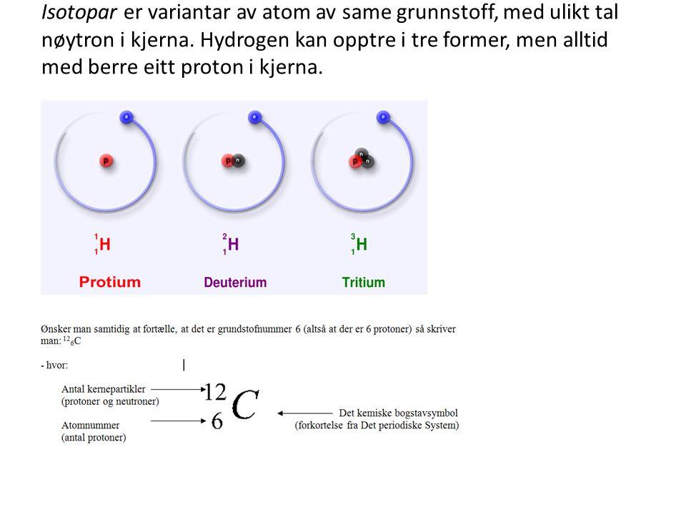Isotopar er variantar av atom av same grunnstoff, med ulikt tal nøytron i kjerna.