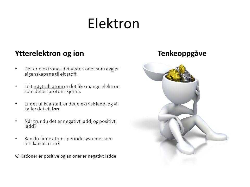 Elektron Ytterelektron og ion Det er elektrona i det ytste skalet som avgjer eigenskapane til eit stoff.