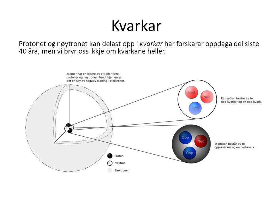 Kvarkar Protonet og nøytronet kan delast opp i kvarkar har forskarar oppdaga dei siste 40 åra, men vi bryr oss ikkje om kvarkane heller.