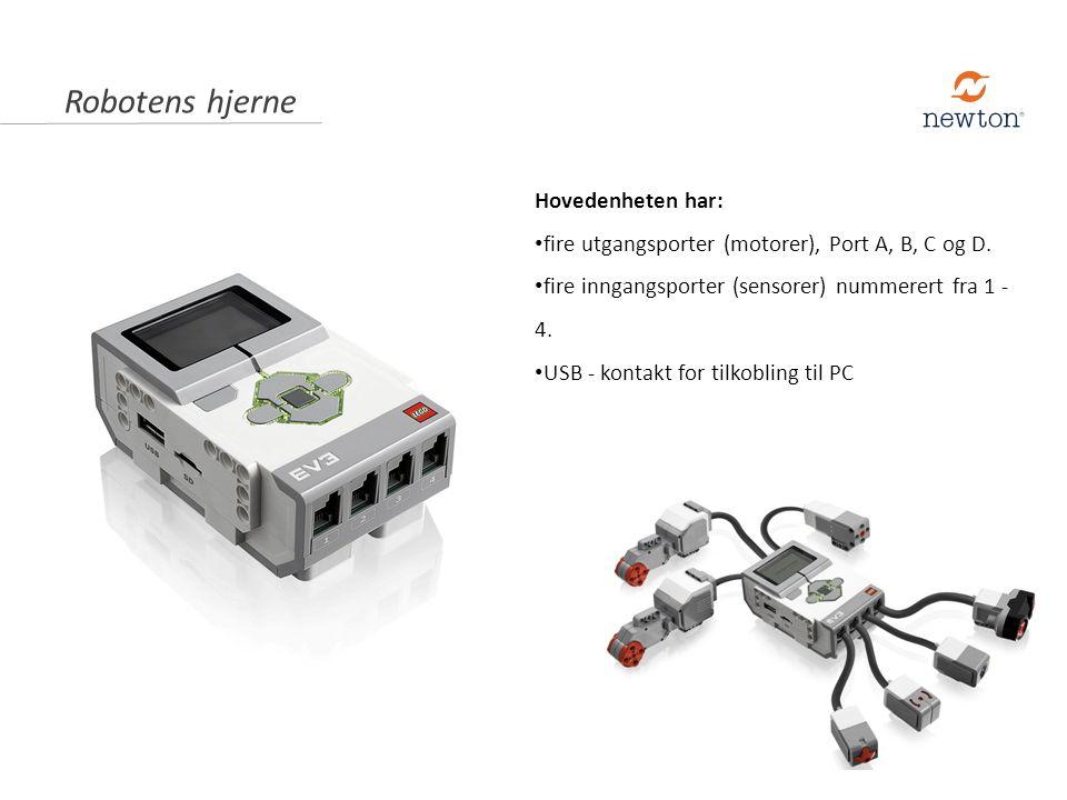 Hovedenheten har: fire utgangsporter (motorer), Port A, B, C og D. fire inngangsporter (sensorer) nummerert fra 1 - 4. USB - kontakt for tilkobling ti