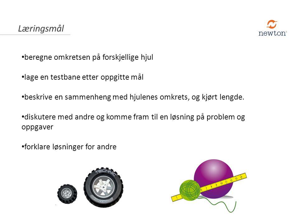 beregne omkretsen på forskjellige hjul lage en testbane etter oppgitte mål beskrive en sammenheng med hjulenes omkrets, og kjørt lengde.