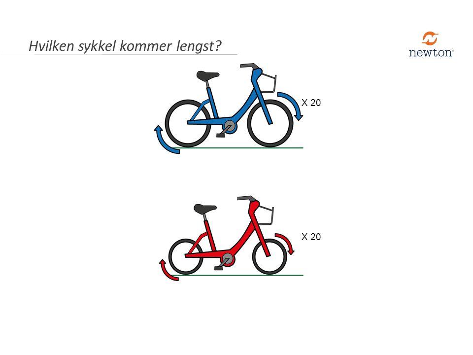 C.Begge syklene kommer like langt. A. Den med minst hjul, fordi de små hjulene går fortere rundt.