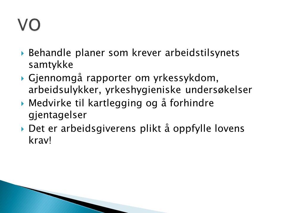  Behandle planer som krever arbeidstilsynets samtykke  Gjennomgå rapporter om yrkessykdom, arbeidsulykker, yrkeshygieniske undersøkelser  Medvirke
