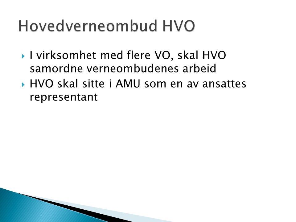  I virksomhet med flere VO, skal HVO samordne verneombudenes arbeid  HVO skal sitte i AMU som en av ansattes representant