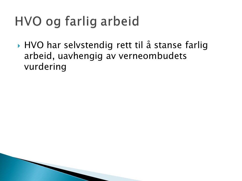  HVO har selvstendig rett til å stanse farlig arbeid, uavhengig av verneombudets vurdering