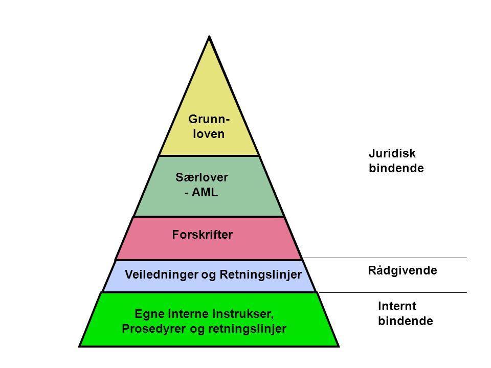 Grunn- loven Egne interne instrukser, Prosedyrer og retningslinjer Forskrifter Veiledninger og Retningslinjer Særlover - AML Juridisk bindende Rådgivende Internt bindende