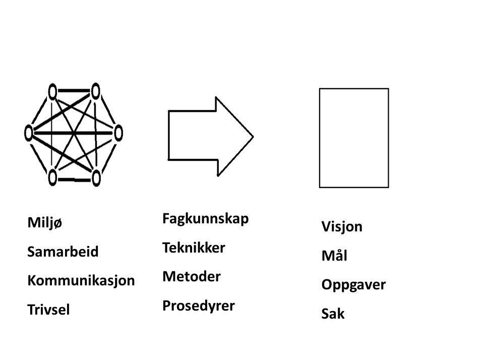 Visjon Mål Oppgaver Sak Fagkunnskap Teknikker Metoder Prosedyrer Miljø Samarbeid Kommunikasjon Trivsel
