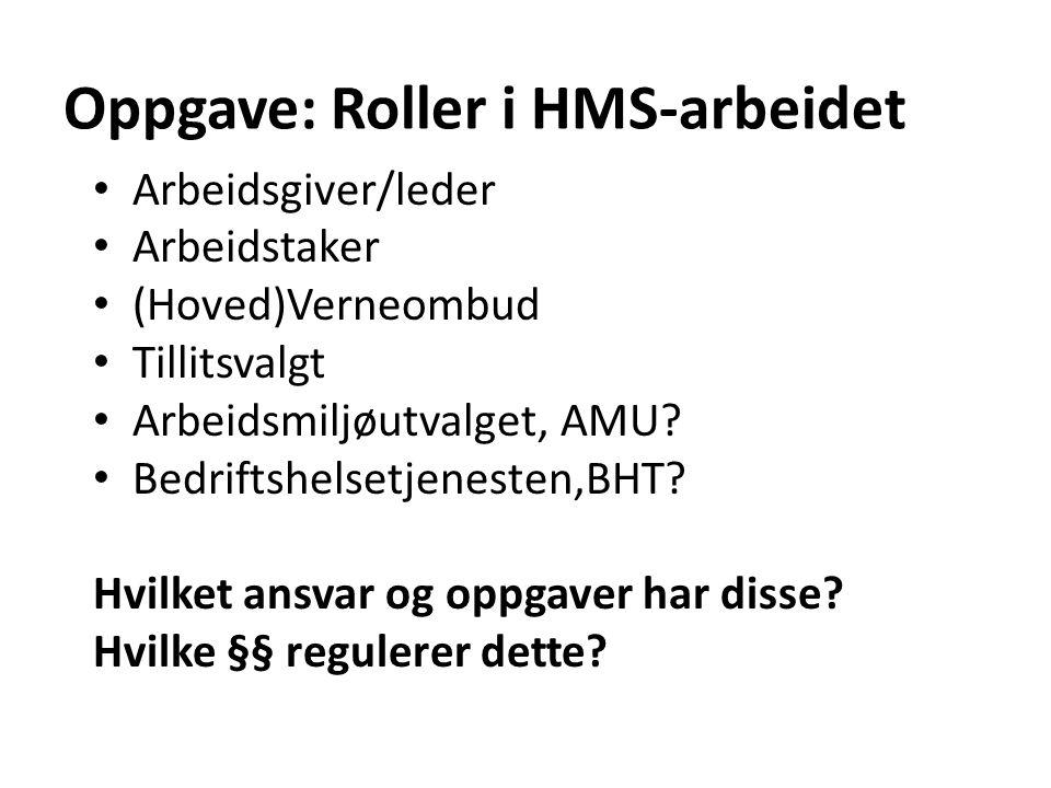 Oppgave: Roller i HMS-arbeidet Arbeidsgiver/leder Arbeidstaker (Hoved)Verneombud Tillitsvalgt Arbeidsmiljøutvalget, AMU.