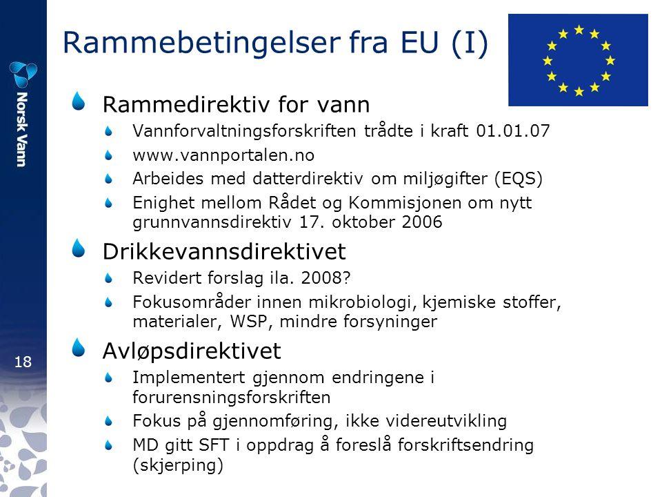 18 Rammebetingelser fra EU (I) Rammedirektiv for vann Vannforvaltningsforskriften trådte i kraft 01.01.07 www.vannportalen.no Arbeides med datterdirektiv om miljøgifter (EQS) Enighet mellom Rådet og Kommisjonen om nytt grunnvannsdirektiv 17.