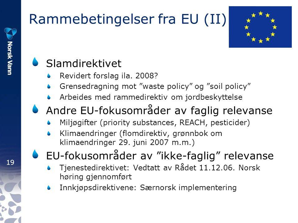 19 Rammebetingelser fra EU (II) Slamdirektivet Revidert forslag ila.