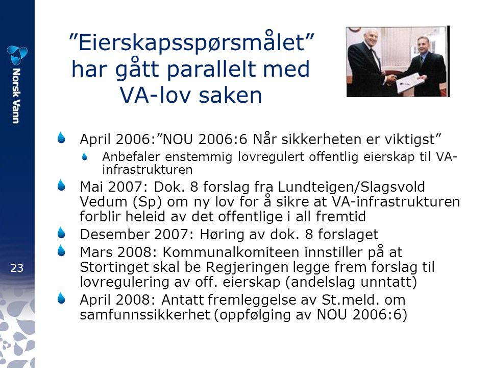 23 Eierskapsspørsmålet har gått parallelt med VA-lov saken April 2006: NOU 2006:6 Når sikkerheten er viktigst Anbefaler enstemmig lovregulert offentlig eierskap til VA- infrastrukturen Mai 2007: Dok.