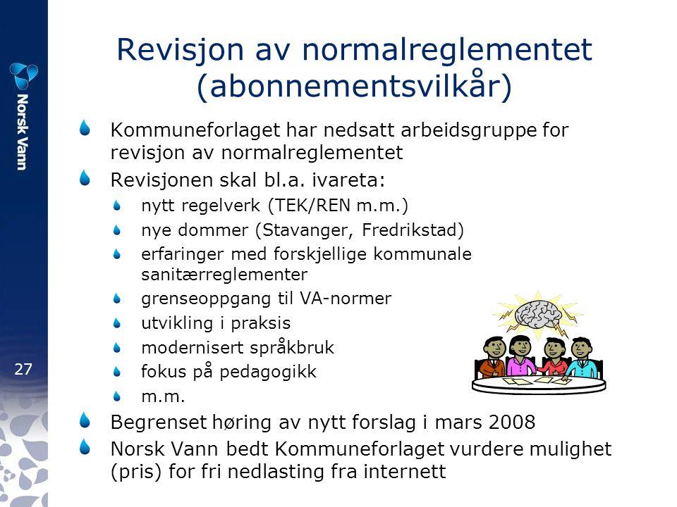 27 Revisjon av normalreglementet (abonnementsvilkår) Kommuneforlaget har nedsatt arbeidsgruppe for revisjon av normalreglementet Revisjonen skal bl.a.
