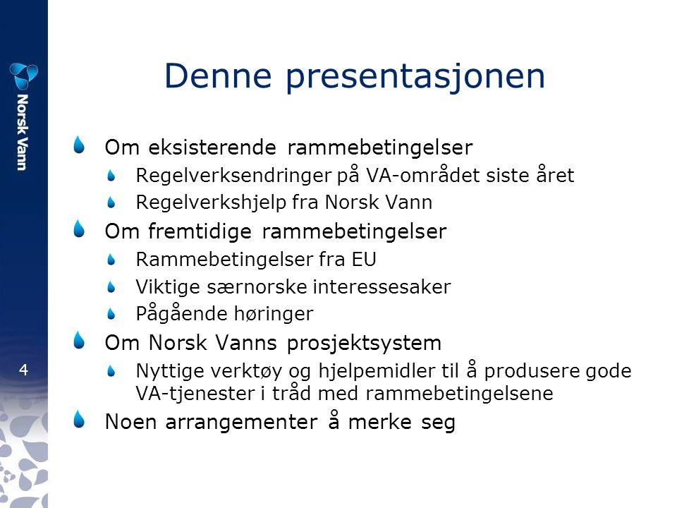 35 Om prosjektsystemet Felles kompetanse- og utviklingsløft for VA- bransjen 1 kr/innbygger årlig 4-årige programperioder, 2 bevilgningsrunder årlig Deltakerne bestemmer programområdene, foreslår prosjekter og avgjør hvilke prosjekter som skal prioriteres Prosjektene gjennomføres av rådgivere med spisskompetanse, og styres av Norsk Vanns sekretariat m/styringsgrupper Deltakerne har fri tilgang til alle resultater av prosjektsystemet