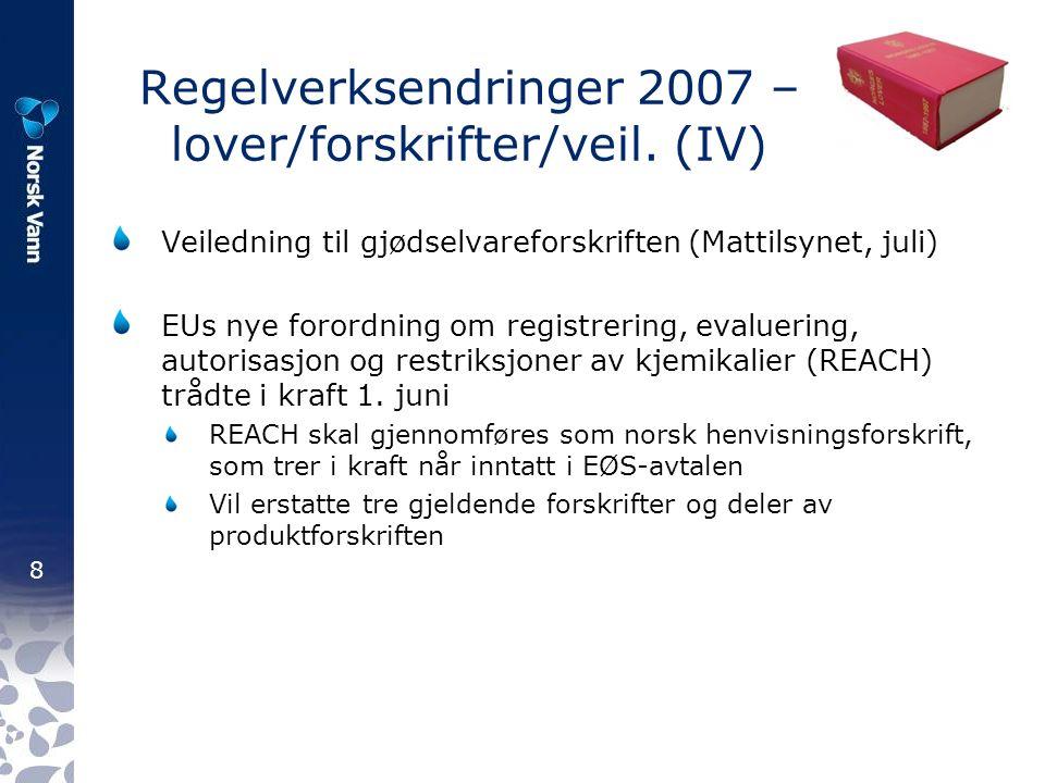 9 Regelverksendringer 2008 – lover/forskrifter/veil.