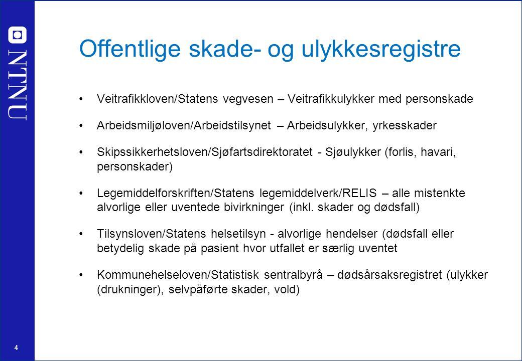 4 Offentlige skade- og ulykkesregistre Veitrafikkloven/Statens vegvesen – Veitrafikkulykker med personskade Arbeidsmiljøloven/Arbeidstilsynet – Arbeid
