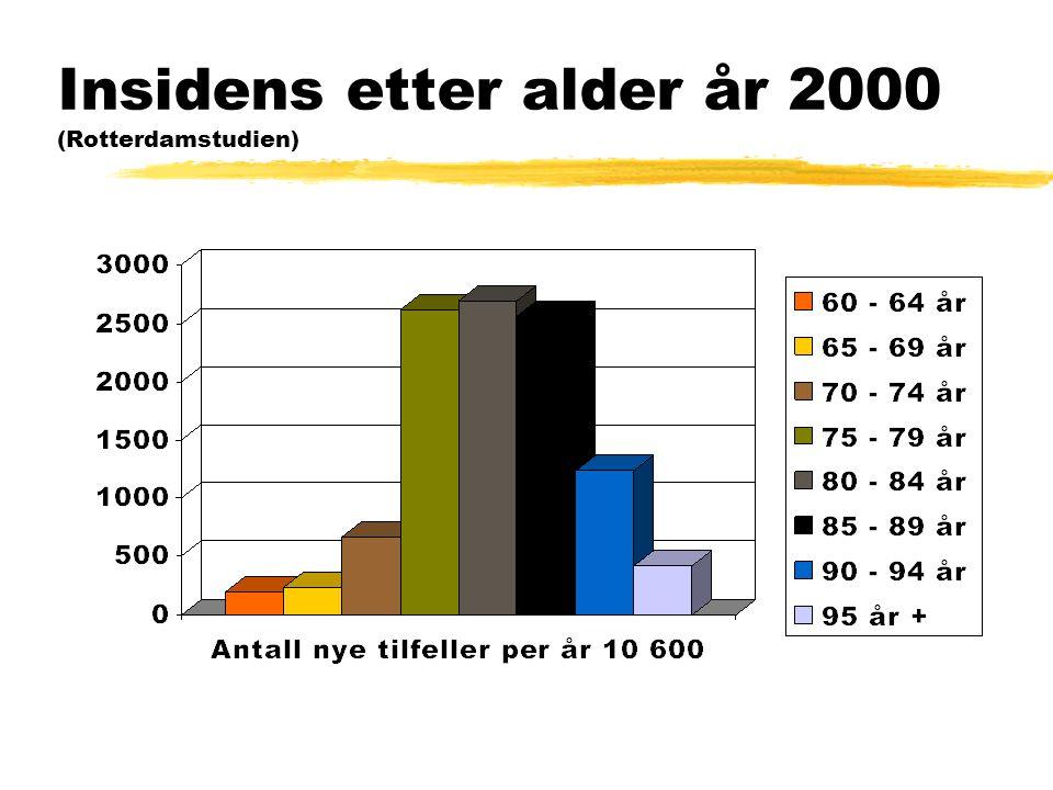 Insidens etter alder år 2000 (Rotterdamstudien)