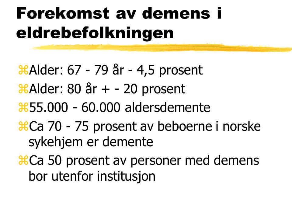 Forekomst av demens i eldrebefolkningen zAlder: 67 - 79 år - 4,5 prosent zAlder: 80 år + - 20 prosent z55.000 - 60.000 aldersdemente zCa 70 - 75 prosent av beboerne i norske sykehjem er demente zCa 50 prosent av personer med demens bor utenfor institusjon
