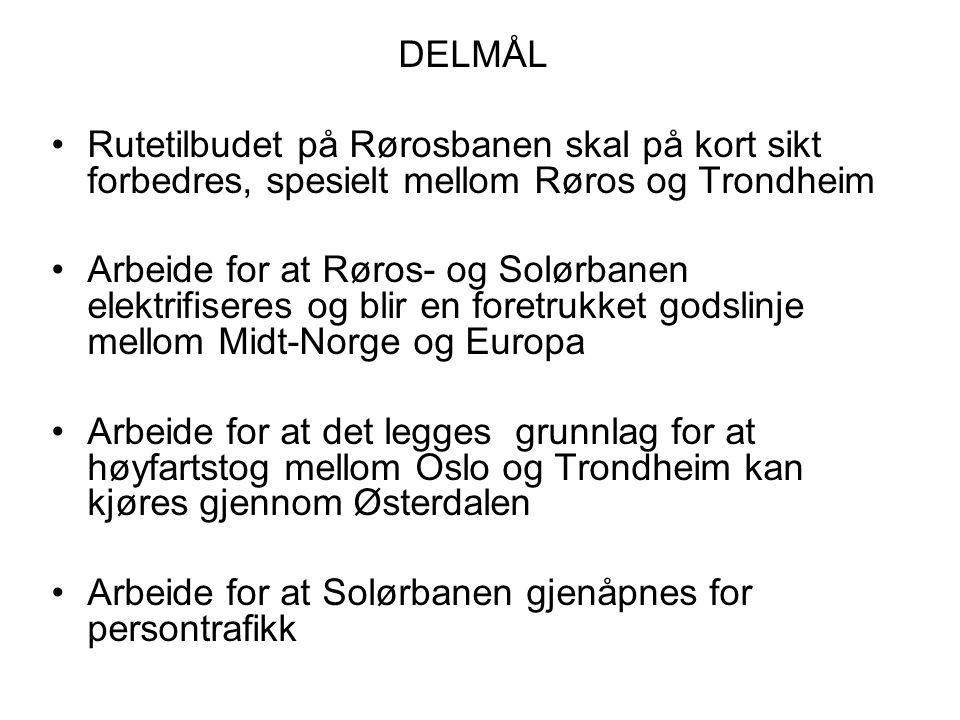 DELMÅL Rutetilbudet på Rørosbanen skal på kort sikt forbedres, spesielt mellom Røros og Trondheim Arbeide for at Røros- og Solørbanen elektrifiseres o