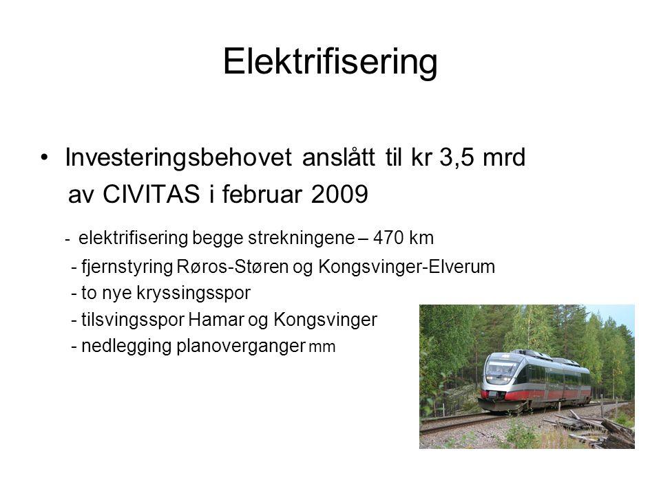Elektrifisering Investeringsbehovet anslått til kr 3,5 mrd av CIVITAS i februar 2009 - elektrifisering begge strekningene – 470 km - fjernstyring Røro