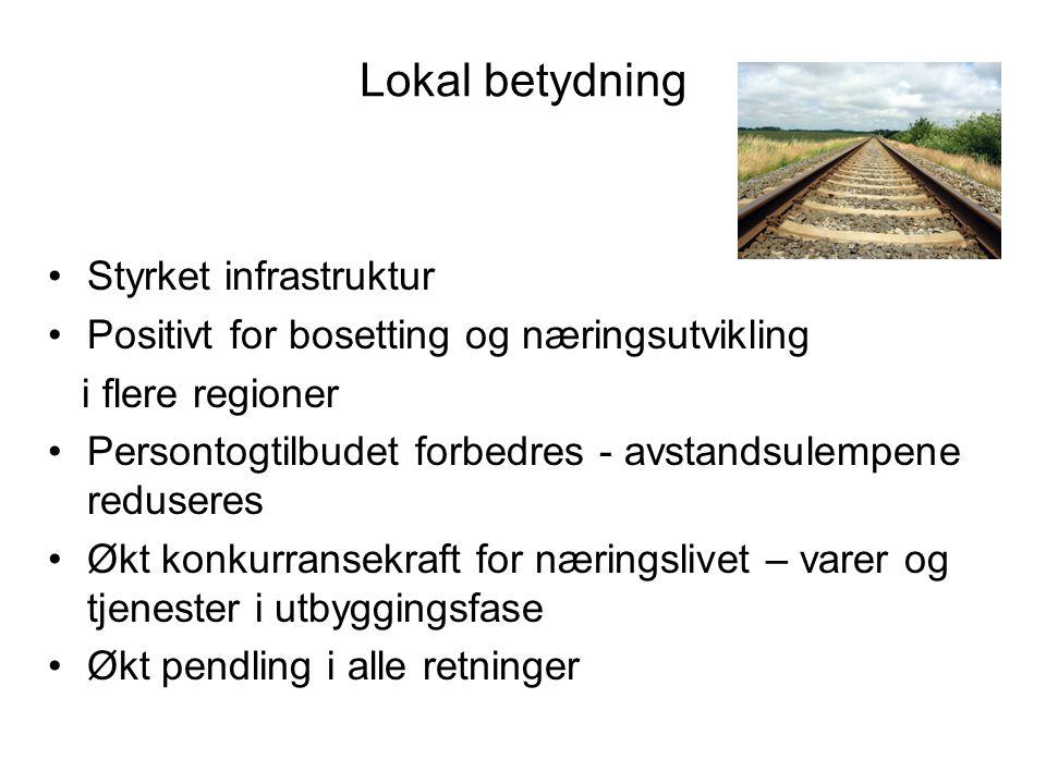 Lokal betydning Styrket infrastruktur Positivt for bosetting og næringsutvikling i flere regioner Persontogtilbudet forbedres - avstandsulempene redus