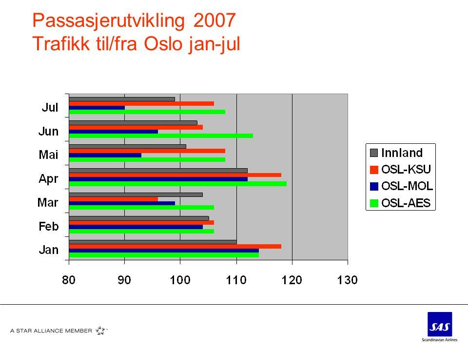 Passasjerutvikling 2007 Trafikk til/fra Oslo jan-jul
