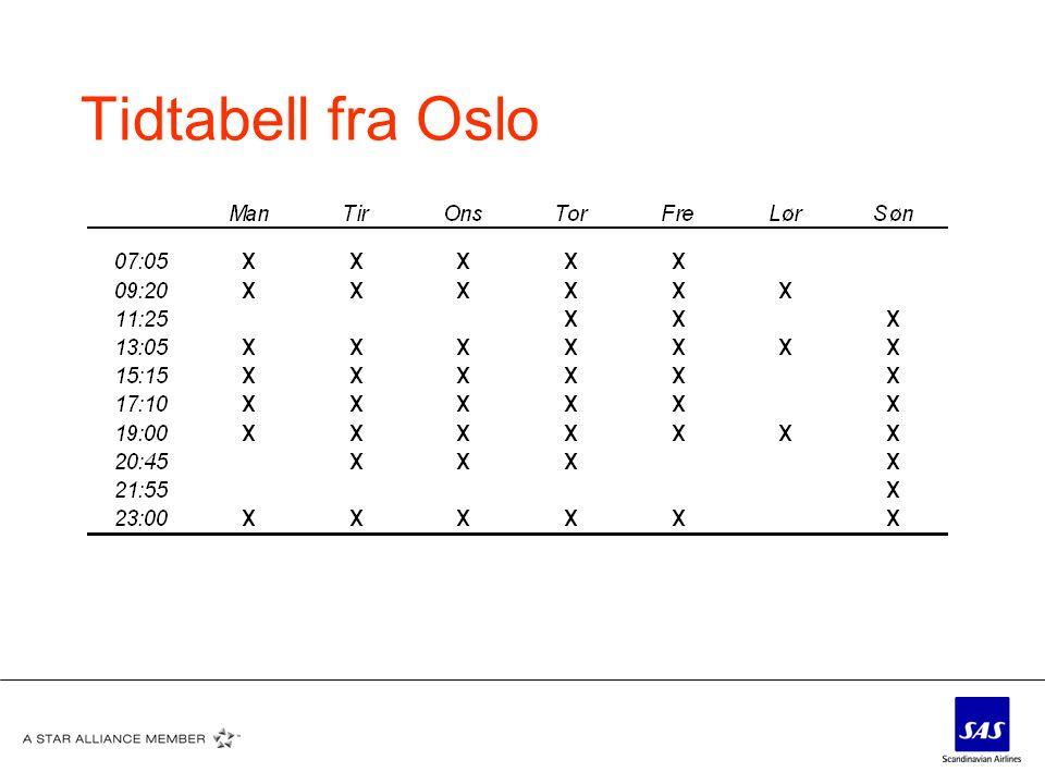 Tidtabell fra Oslo
