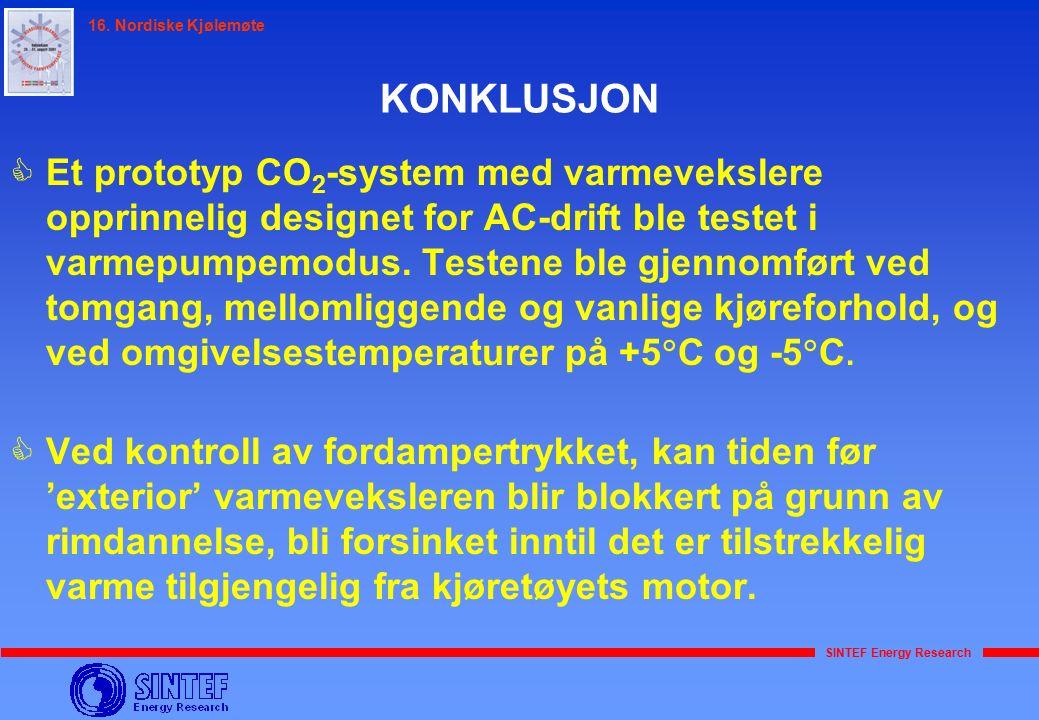 SINTEF Energy Research 16. Nordiske Kjølemøte  Et prototyp CO 2 -system med varmevekslere opprinnelig designet for AC-drift ble testet i varmepumpemo