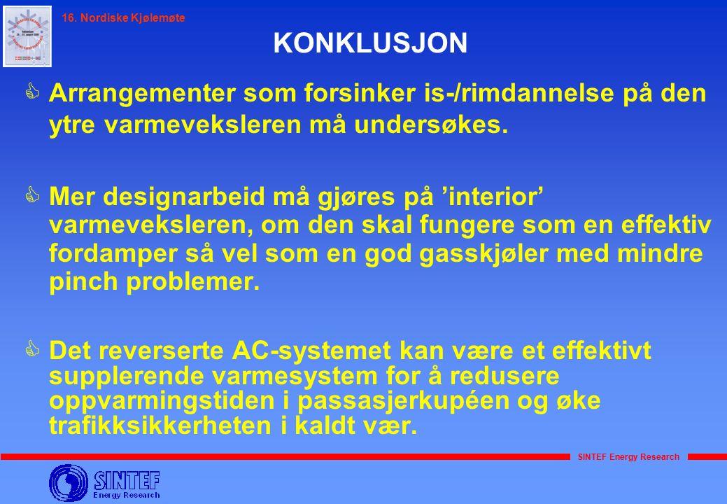 SINTEF Energy Research 16. Nordiske Kjølemøte  Arrangementer som forsinker is-/rimdannelse på den ytre varmeveksleren må undersøkes.  Mer designarbe