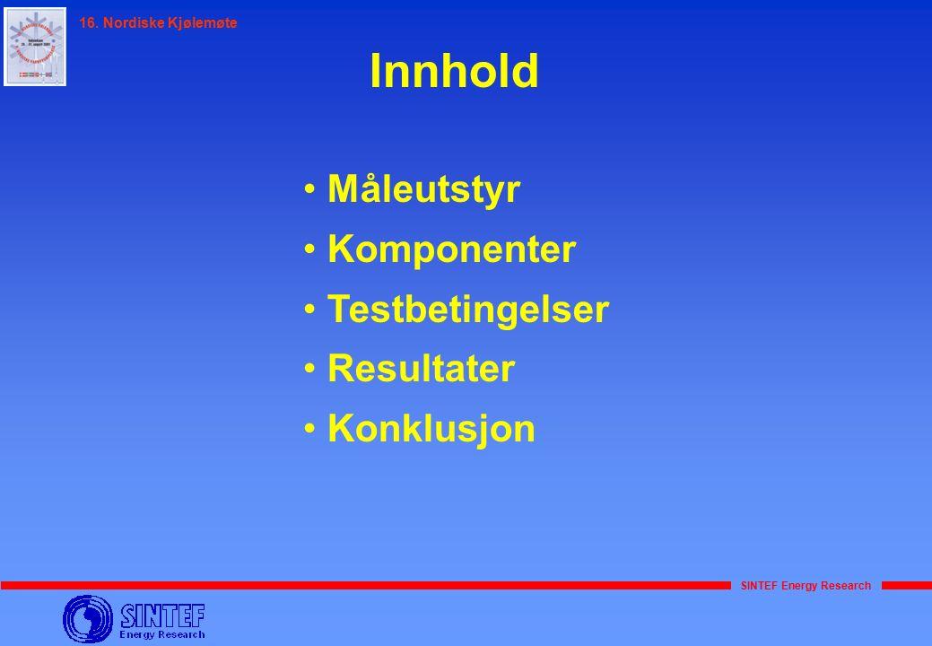 SINTEF Energy Research 16. Nordiske Kjølemøte Innhold Måleutstyr Komponenter Testbetingelser Resultater Konklusjon