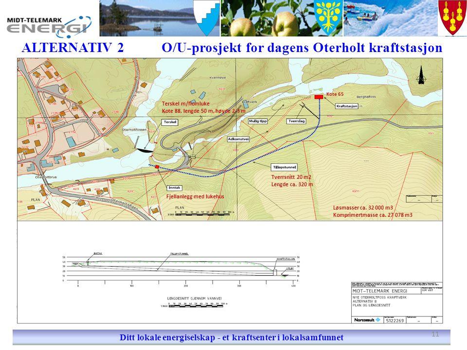 ALTERNATIV 2O/U-prosjekt for dagens Oterholt kraftstasjon Ditt lokale energiselskap - et kraftsenter i lokalsamfunnet Terskel m/flomluke Kote 88, leng
