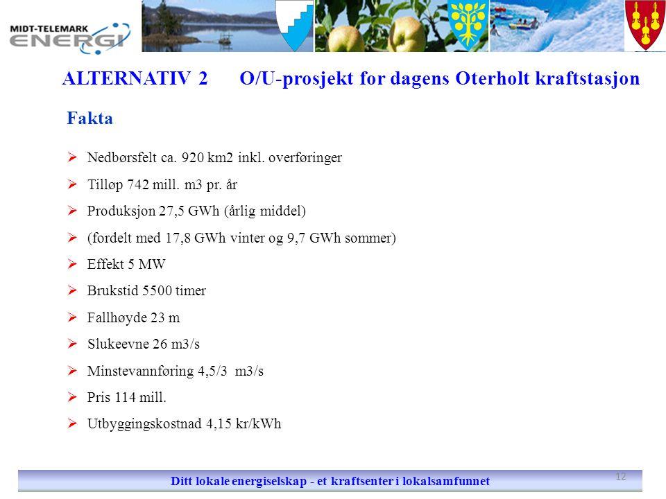 ALTERNATIV 2 O/U-prosjekt for dagens Oterholt kraftstasjon Ditt lokale energiselskap - et kraftsenter i lokalsamfunnet Fakta  Nedbørsfelt ca. 920 km2