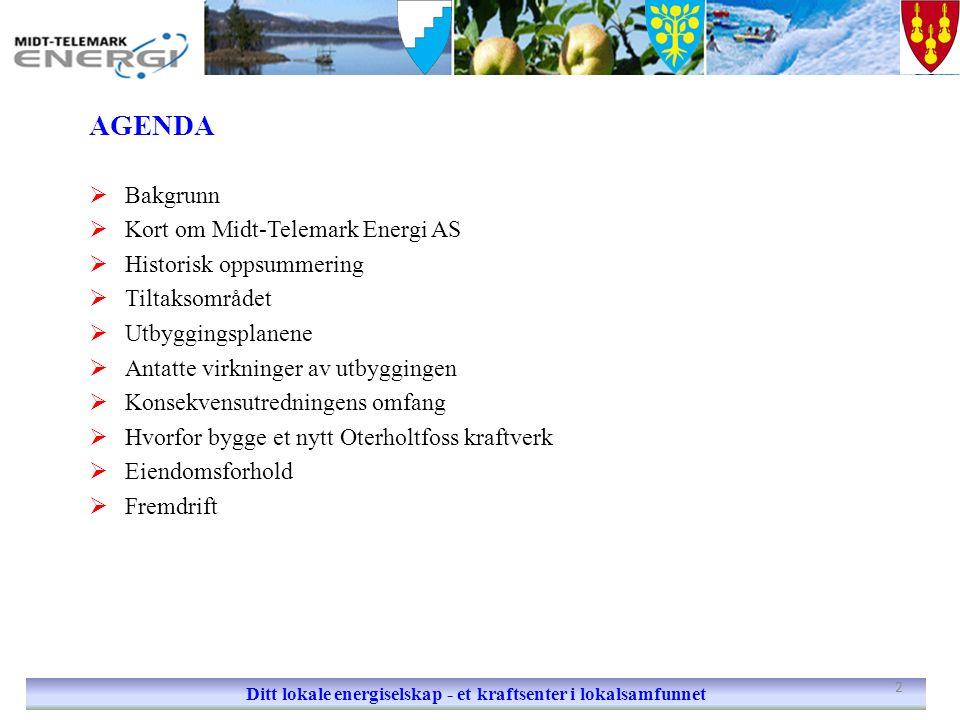 AGENDA  Bakgrunn  Kort om Midt-Telemark Energi AS  Historisk oppsummering  Tiltaksområdet  Utbyggingsplanene  Antatte virkninger av utbyggingen