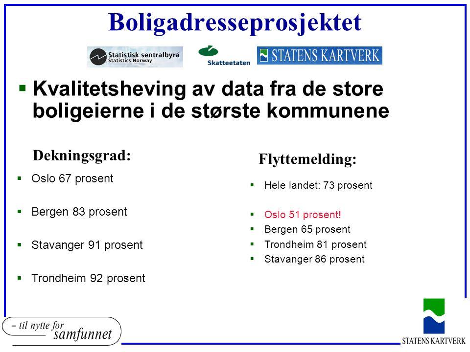 Boligadresseprosjektet  Kvalitetsheving av data fra de store boligeierne i de største kommunene  Oslo 67 prosent  Bergen 83 prosent  Stavanger 91 prosent  Trondheim 92 prosent  Hele landet: 73 prosent  Oslo 51 prosent.