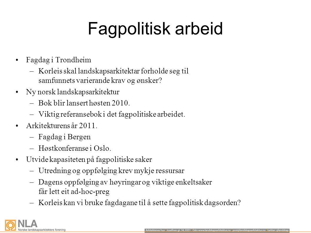 Fagpolitisk arbeid Fagdag i Trondheim –Korleis skal landskapsarkitektar forholde seg til samfunnets varierande krav og ønsker.