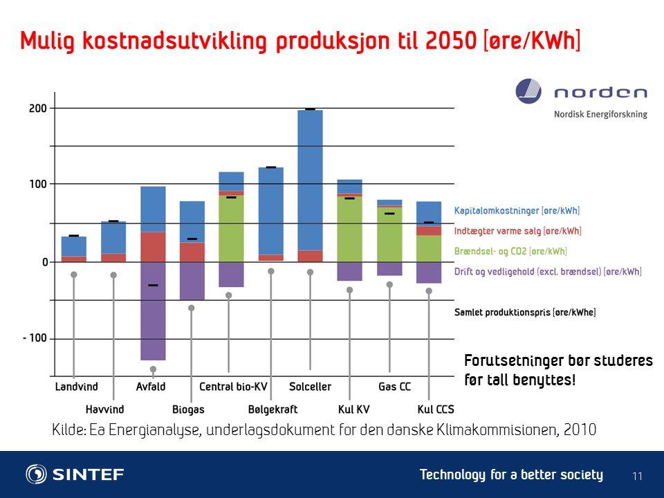 Technology for a better society 11 Kilde: Ea Energianalyse, underlagsdokument for den danske Klimakommisionen, 2010 Forutsetninger bør studeres før tall benyttes.