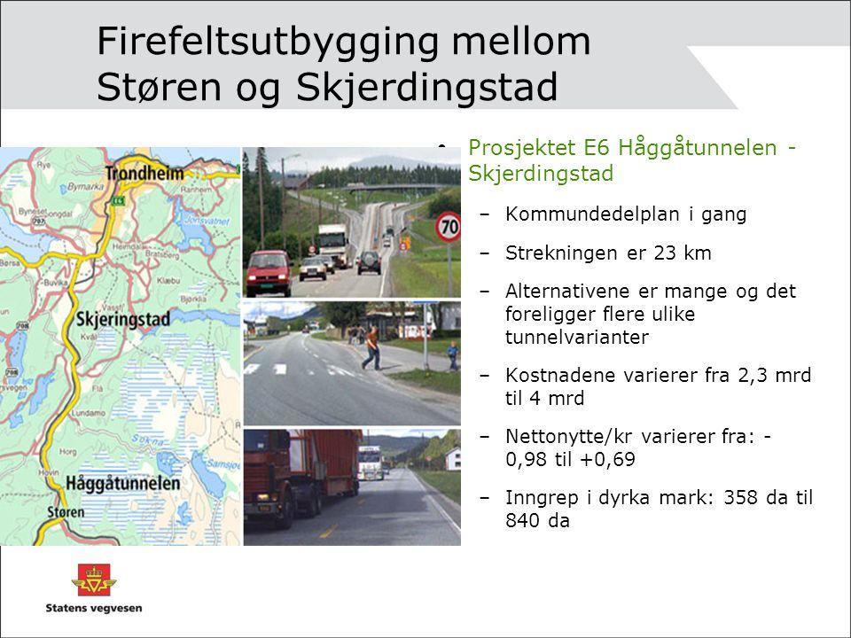 Firefeltsutbygging mellom Støren og Skjerdingstad Prosjektet E6 Håggåtunnelen - Skjerdingstad –Kommundedelplan i gang –Strekningen er 23 km –Alternativene er mange og det foreligger flere ulike tunnelvarianter –Kostnadene varierer fra 2,3 mrd til 4 mrd –Nettonytte/kr varierer fra: - 0,98 til +0,69 –Inngrep i dyrka mark: 358 da til 840 da