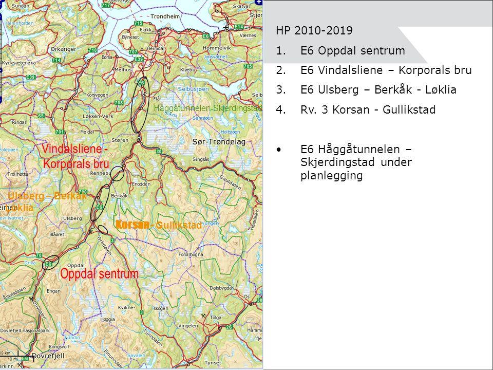 HP 2010-2019 1.E6 Oppdal sentrum 2.E6 Vindalsliene – Korporals bru 3.E6 Ulsberg – Berkåk - Løklia 4.Rv.