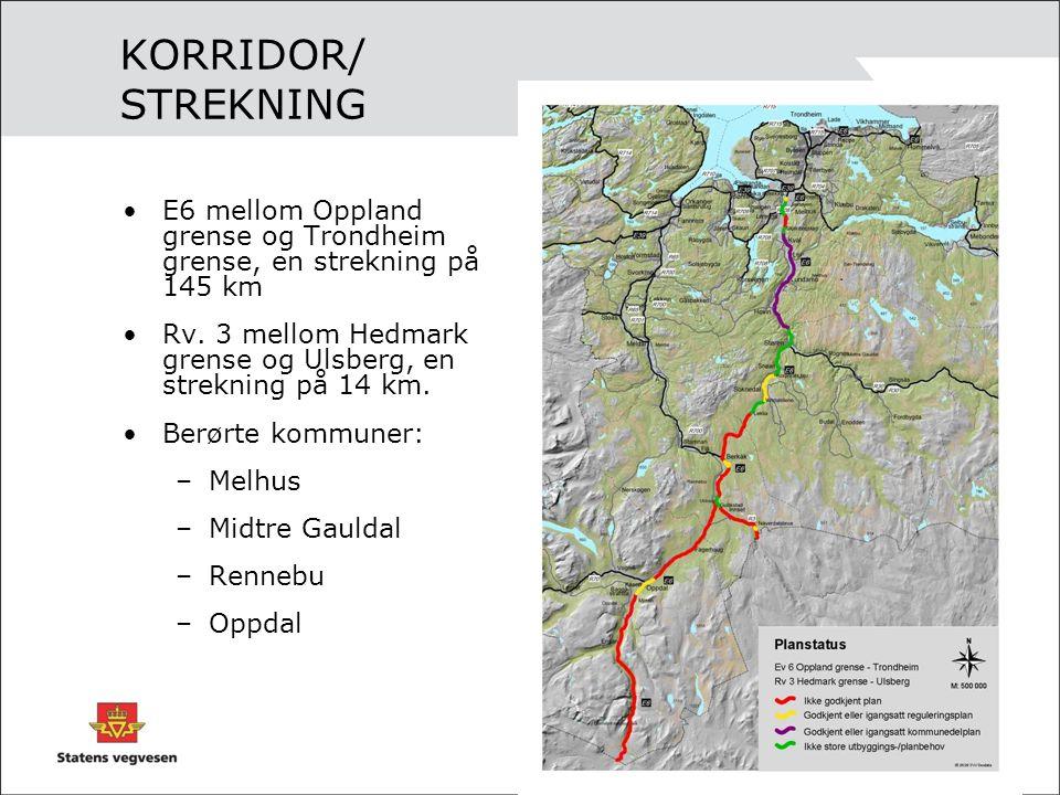 KORRIDOR/ STREKNING E6 mellom Oppland grense og Trondheim grense, en strekning på 145 km Rv.