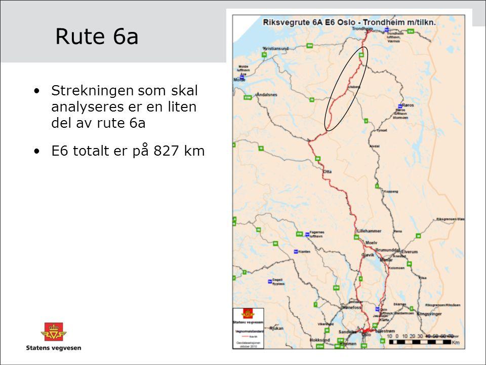 Rute 6a Strekningen som skal analyseres er en liten del av rute 6a E6 totalt er på 827 km