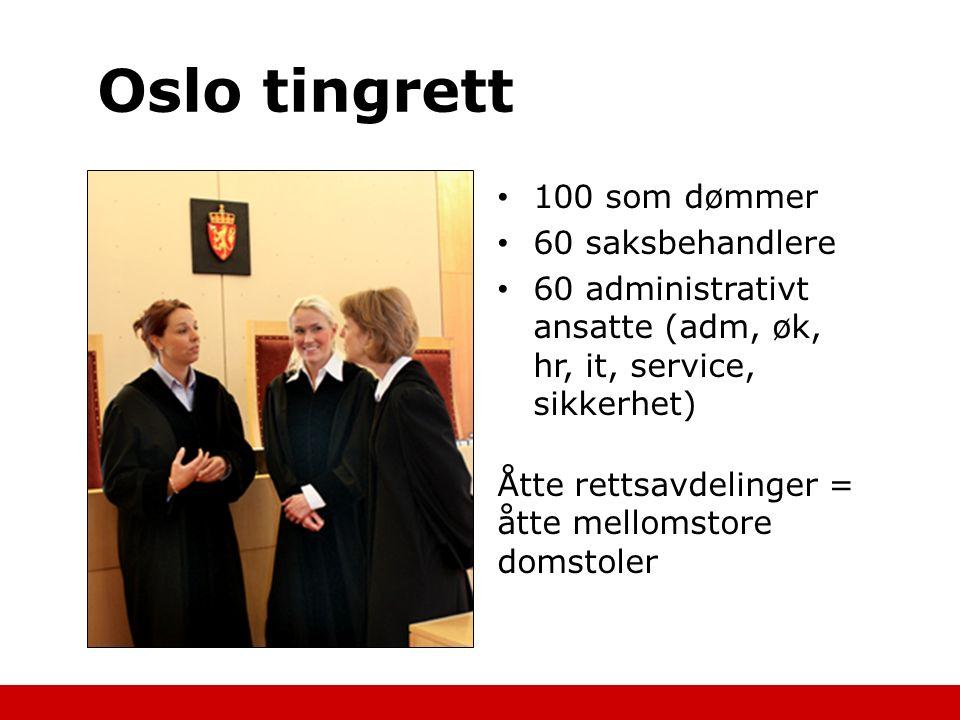 Oslo tingrett 100 som dømmer 60 saksbehandlere 60 administrativt ansatte (adm, øk, hr, it, service, sikkerhet) Åtte rettsavdelinger = åtte mellomstore