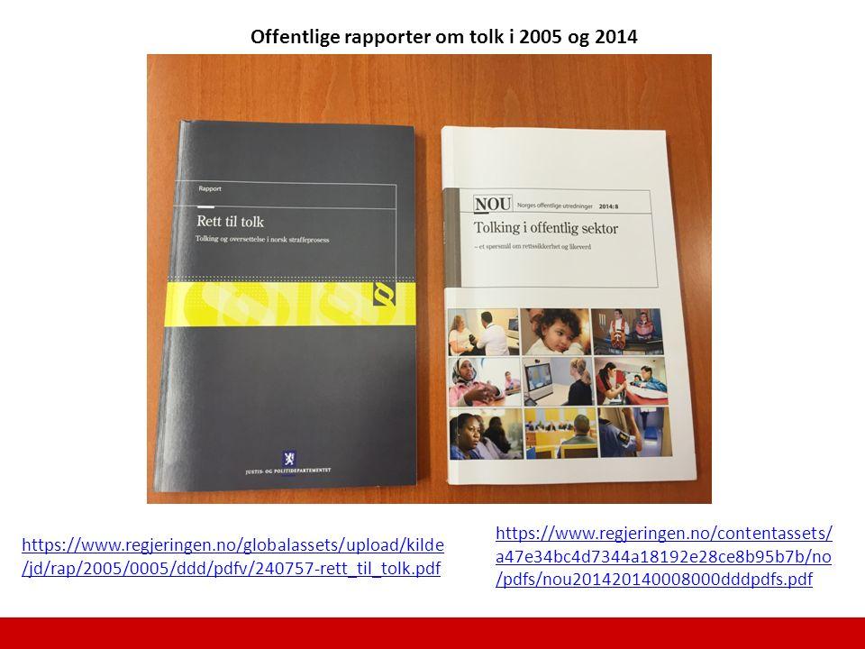 Offentlige rapporter om tolk i 2005 og 2014 https://www.regjeringen.no/globalassets/upload/kilde /jd/rap/2005/0005/ddd/pdfv/240757-rett_til_tolk.pdf h