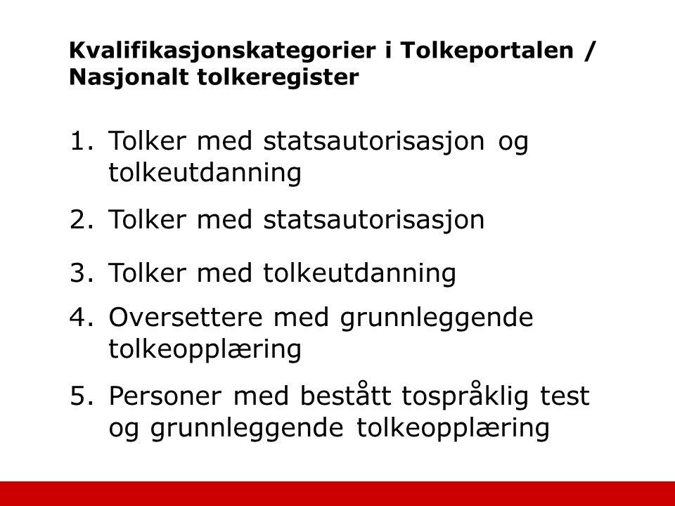 Kvalifikasjonskategorier i Tolkeportalen / Nasjonalt tolkeregister 1.Tolker med statsautorisasjon og tolkeutdanning 2.Tolker med statsautorisasjon 3.T