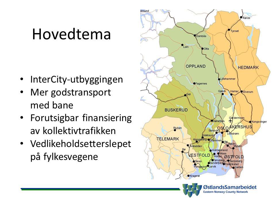 Hovedtema InterCity-utbyggingen Mer godstransport med bane Forutsigbar finansiering av kollektivtrafikken Vedlikeholdsetterslepet på fylkesvegene