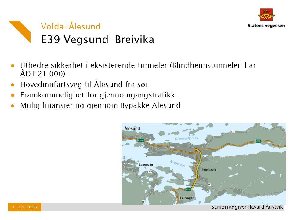 E39 Vegsund-Breivika ● Utbedre sikkerhet i eksisterende tunneler (Blindheimstunnelen har ÅDT 21 000) ● Hovedinnfartsveg til Ålesund fra sør ● Framkomm